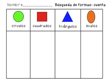 Shape hunt and write the room spanish by sugar beans bilingual shape hunt and write the room spanish ccuart Image collections