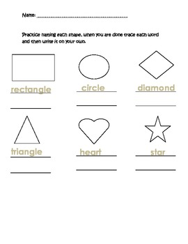 Shape Identification Sheet