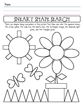 Shape Identification Worksheet by Shannon Allison ...