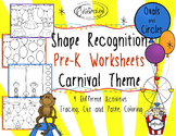 Shape Identification Worksheet - Carnival Themed PreK Worksheet