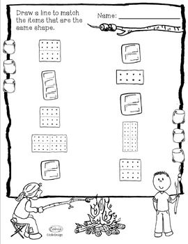 Shape Identification Worksheet - Smores Themed PreK Worksheet by ...