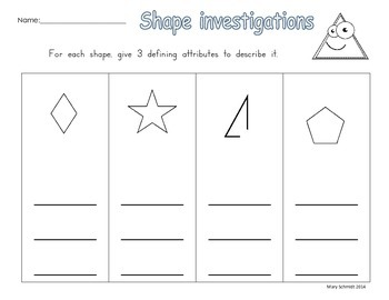 Shape Investigations Part 2: Exploring Defining Attributes of Shapes
