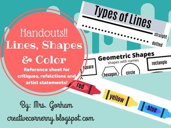 Shape, Line and Color Reference Sheet Handout