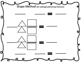 Shape Method Graphic Organizer for Fractions: add,subtract