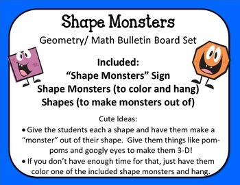 Shape Monsters Bulletin Board Set.  Geometry Math Shapes.  Easy and Cute!!