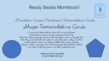 Shape Nomenclature Cards - Dnealian Cursive