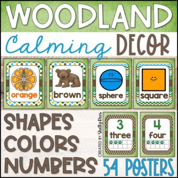 Woodland Theme Classroom Shape, Number, and Color Posters