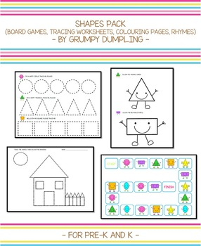 Shapes Pack Tracing Worksheets Colouring Pages Board Games Rhyme