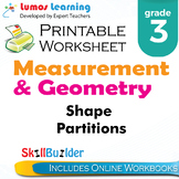 Shape Partitions Printable Worksheet, Grade 3