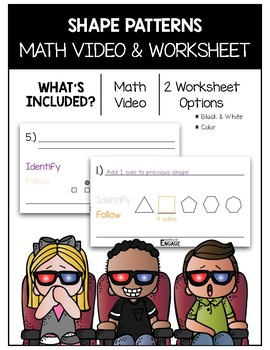 Shape Patterns Math Video and Worksheet