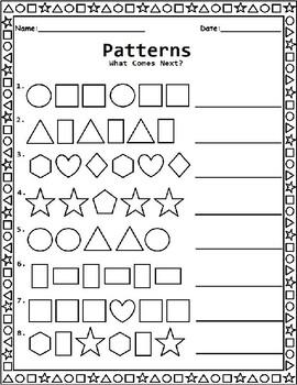 shape patterns worksheet for kindergarten 1st grade and. Black Bedroom Furniture Sets. Home Design Ideas