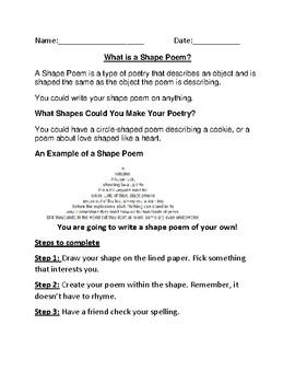 Shape Poem Template