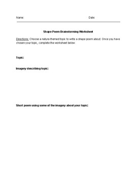 Shape Poetry Lesson: Student Packet