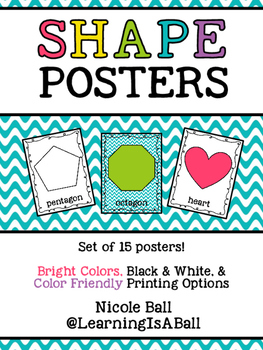 Shape Posters! (Color, Black & White, and Printer Friendly!)
