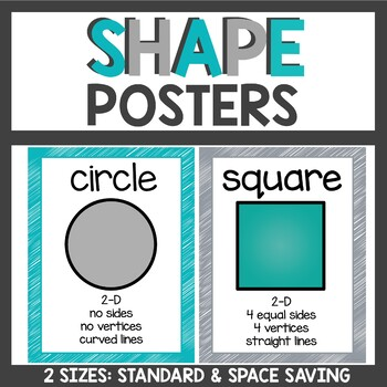 Shape Posters in Teal and Gray