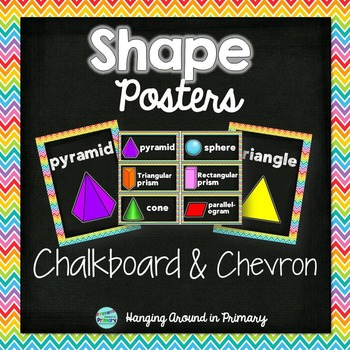 2D and 3D Shape Posters - Chalkboard and Chevron