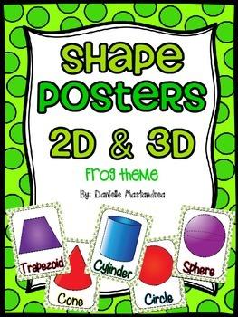 Shape Posters 2D & 3D {Frog Theme}