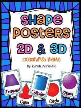 Shape Posters 2D & 3D {Ocean / Fish Theme}