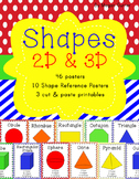 Shape Posters {2D & 3D with Primary Pattern Backgrounds)