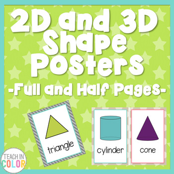 Shape Posters 2D and 3D - Country Cool - Teal, Green, Coral, Gray, Tan