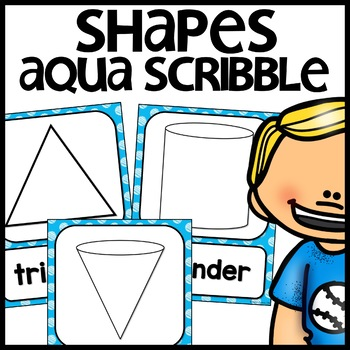 Shape Posters 2d and 3d MIX AND MATCH (AQUA Polka Dot Scribble)