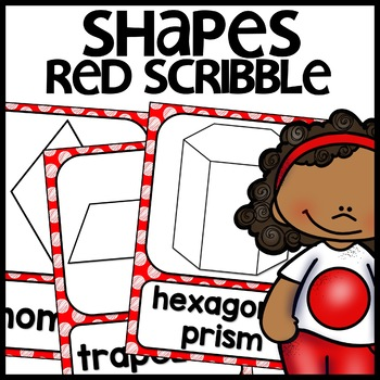Shape Posters 2d and 3d MIX AND MATCH (RED Polka Dot Scribble)