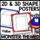 Shape Posters 2d and 3d | MONSTER THEMED
