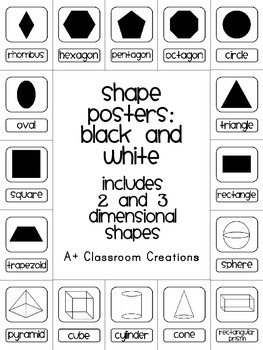 Shape Posters:  Black and White {2 and 3 Dimensional}