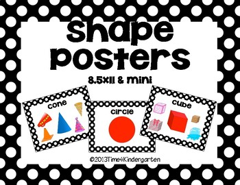 Shape Posters Classroom Pack-Black and White Polka Dot