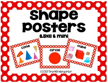 Shape Posters Classroom Pack-Red and White Polka Dot