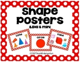 Flat and Solid Shape Posters Classroom Pack Red and White Polka Dot