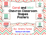 Shape Posters (Coral, Mint and Pink Chevron) (2D and 3D Shapes)
