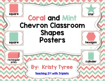 Shape Posters (Coral and Mint Chevron) (2D and 3D Shapes)