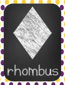 Shape Posters- LSU/Tiger Purple and Gold Theme- Chevron and Dots