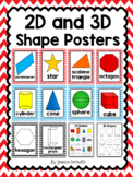 2D and 3D Shape Posters {Red and Blue Chevron}