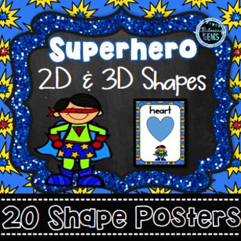 Shape Posters Superhero Theme Superhero Classroom Decor