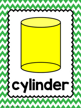 2-D and 3-D Shape Posters {Yellow and Green Chevron}