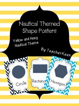 Shape Posters - Yellow and Navy Nautical Theme