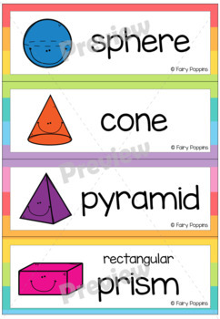Shape Posters & Word Wall- 2D and 3D