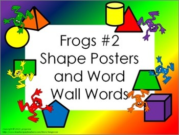 Shape Posters and Word Wall Words - Frogs #2 (basic colors)
