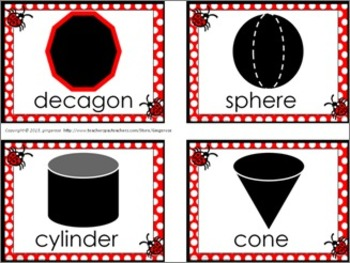 Shape Posters and Word Wall Words - Ladybug (red)