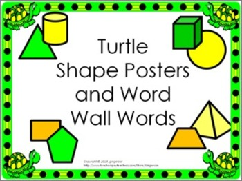 Shape Posters and Word Wall Words - Turtles