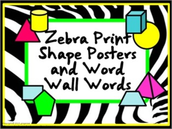 Shape Posters and Word Wall Words - Zebra Print #3 (bright colors)