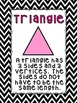 Shape Posters with Definitions: Black and White Chevron Themed Classroom Decor