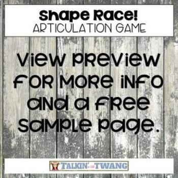 No Prep Shape Race Articulation Game for Speech Therapy