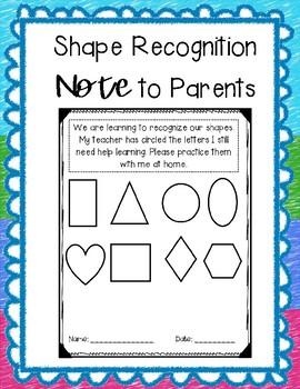 FREEBIE**** Shape Recognition & Sound Recognition Note for Parents