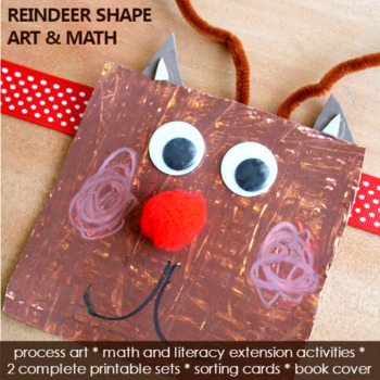 Shape Reindeer Art with Math and Literacy Activities
