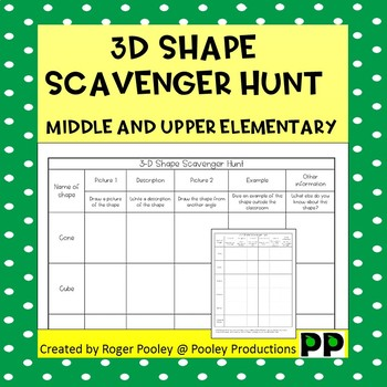 Shape Scavenger Hunt Middle and Upper Elementary