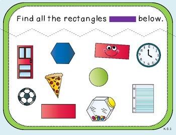 Shape Search Teacher Slides (***FREEBIE***Kindergarten, K.G.2)