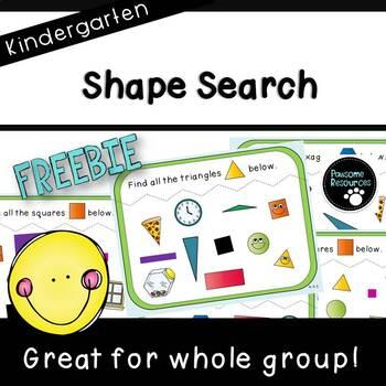 Shape Search Teacher Slides (***K.G.2, Kindergarten FREEBIE***)
